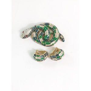 Rare Judith Lieber Snake brooch and earrings